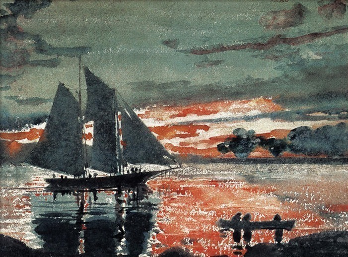 zFox SWD WH 19 Sunset Fire 1880. Winslow Homer