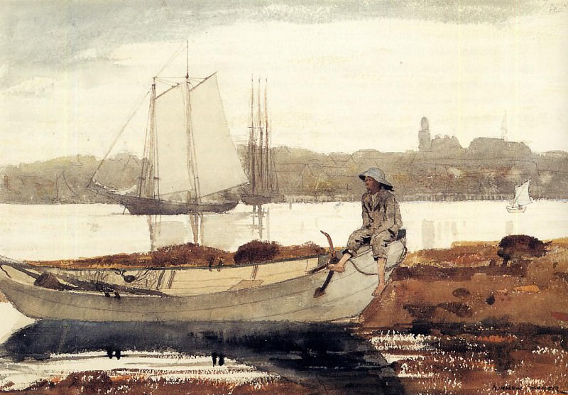 Gloucester Harbor and Dory. Winslow Homer