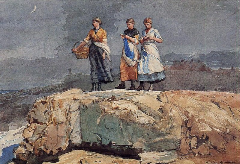 Where are the Boats aka On the Cliffs. Winslow Homer