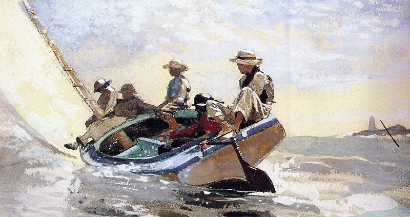 Sailing the catboat, prob.1875, Watercolor and gouache. Winslow Homer