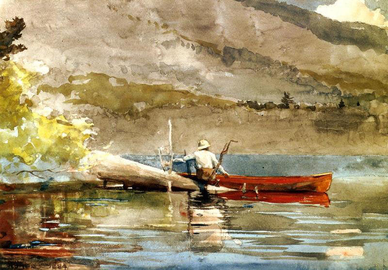 The Red Canoe. Winslow Homer