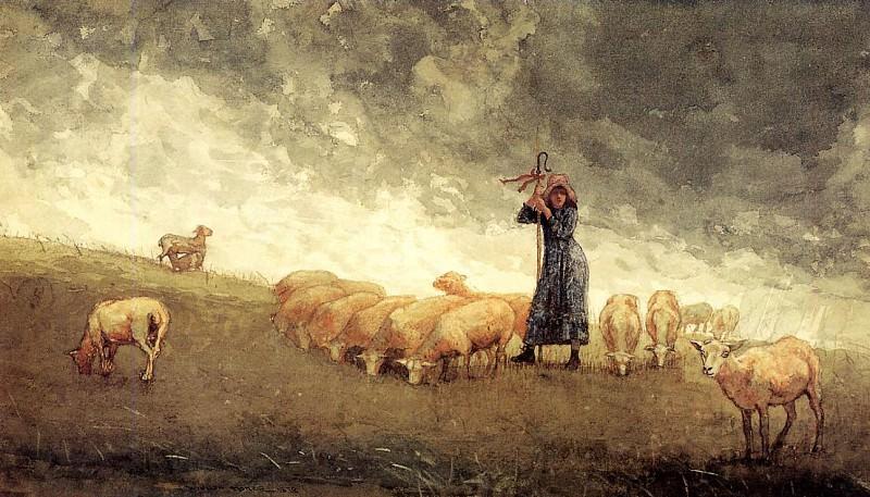 Shepherdess Tending Sheep. Winslow Homer