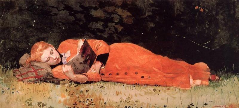 The New Novel aka Book. Winslow Homer