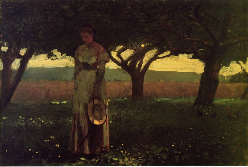 Girl in the Orchard. Winslow Homer