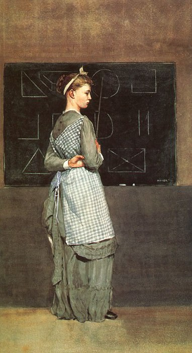 The Blackboard, 1877, watercolor, private collection. Winslow Homer