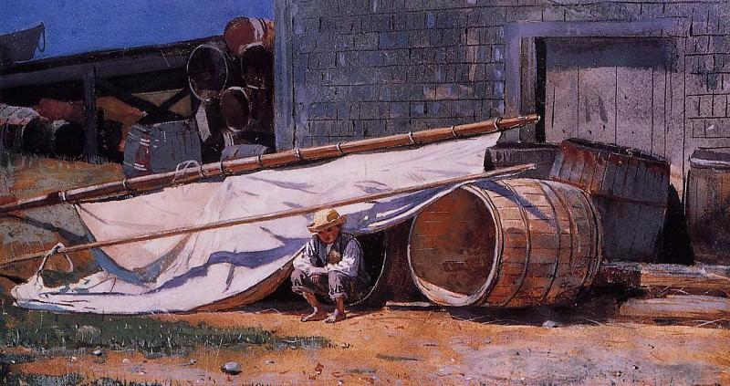 Boy in a Boatyard aka Boy with Barrels. Winslow Homer
