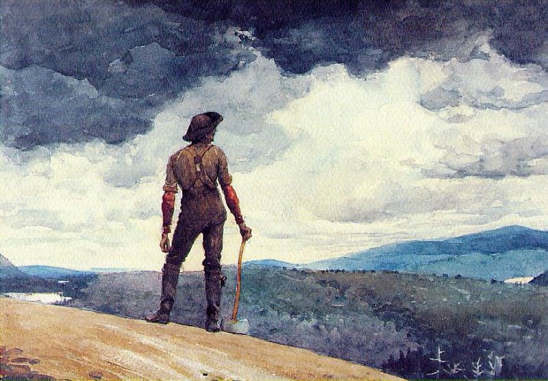 The woodcutter, 1891, Watercolor over graphite, 34.9x5. Winslow Homer