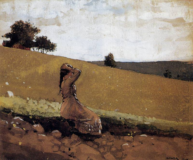 The Green Hill aka On the Hill. Winslow Homer