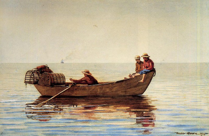 Three Boys in a Dory with Lobster Pots. Winslow Homer