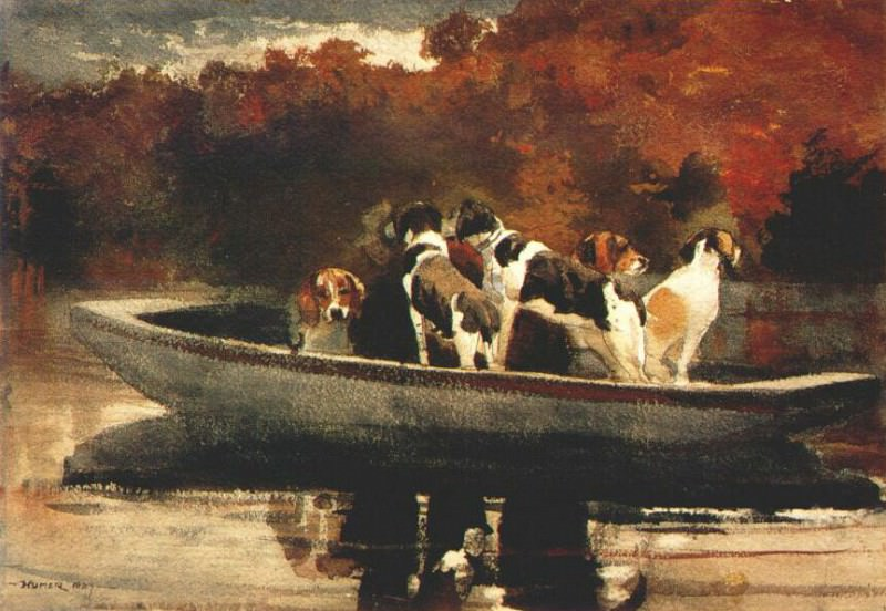 dogs in a boat 1889. Winslow Homer