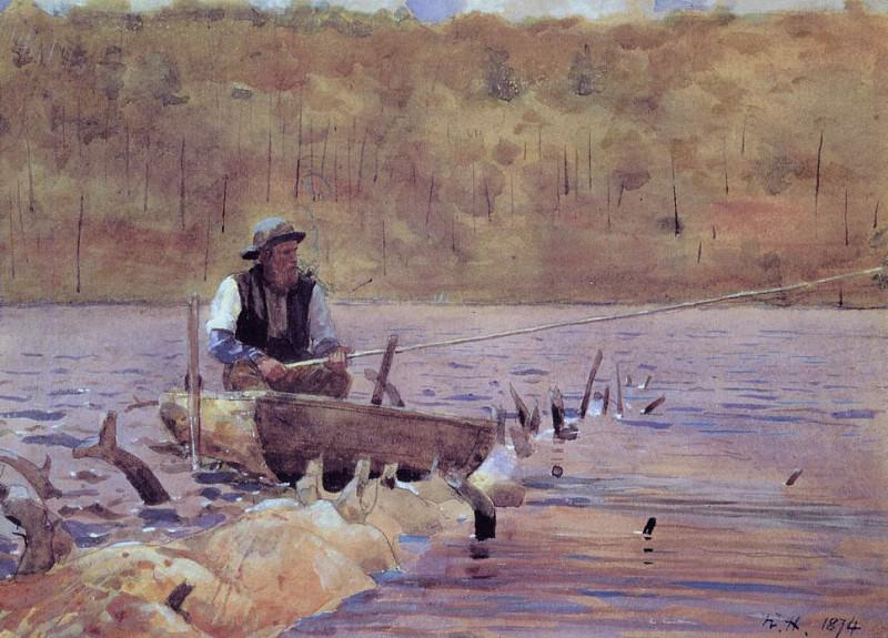 Man in a Punt Fishing. Winslow Homer
