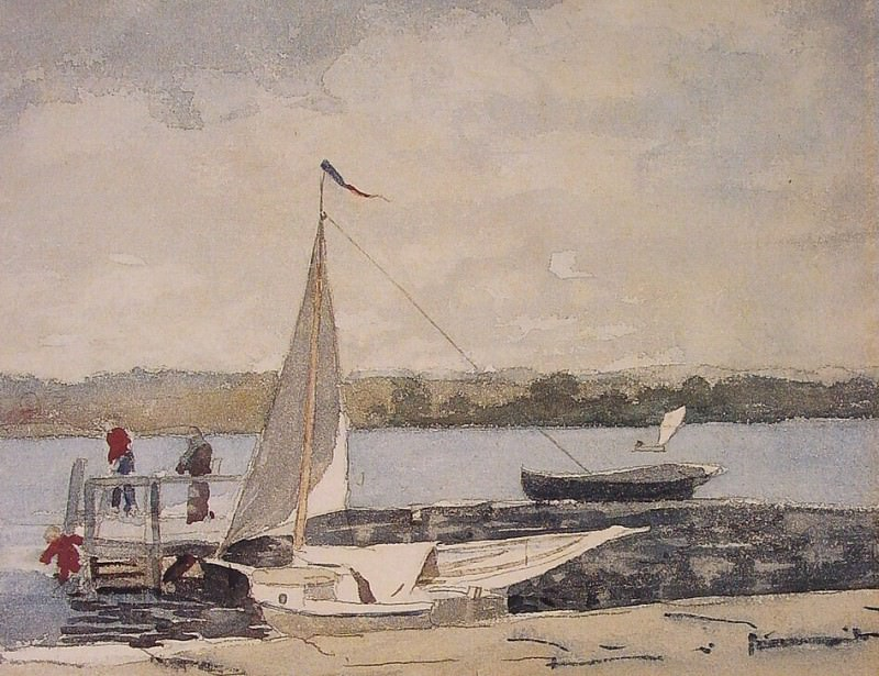 A Sloop at a Wharf Gloucester. Winslow Homer