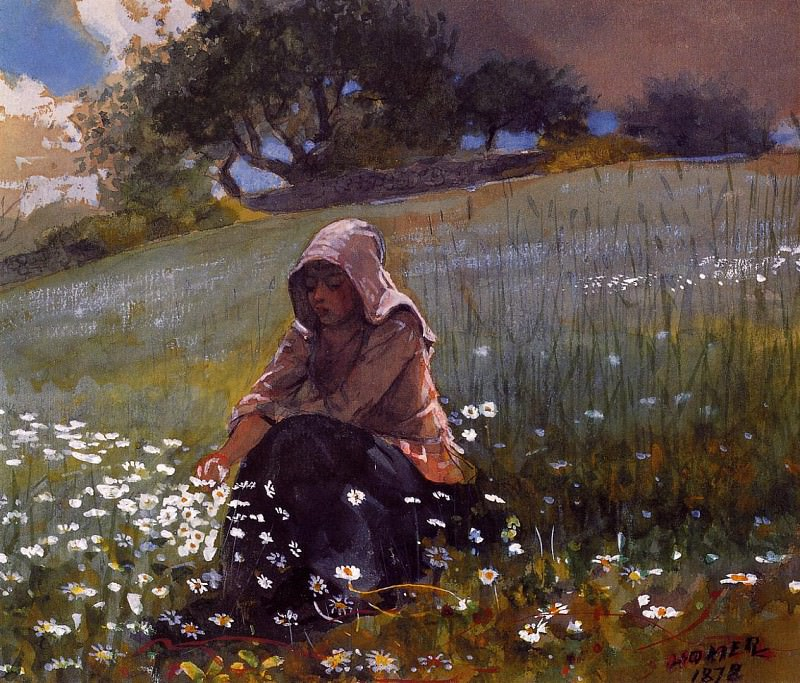 Girl and Daisies. Winslow Homer