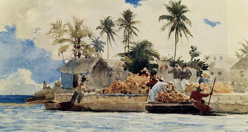 Sponge Fishing Nassau. Winslow Homer