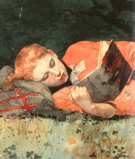 The New Novel, detail, 1877, watercolor, Museum of Fin. Winslow Homer