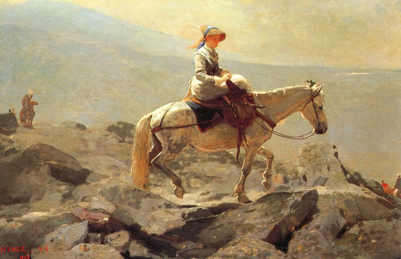 The Bridle Path, White Mountains, 1868, oil on canvas,. Winslow Homer