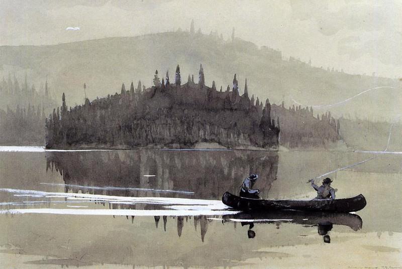 Two Men in a Canoe. Winslow Homer