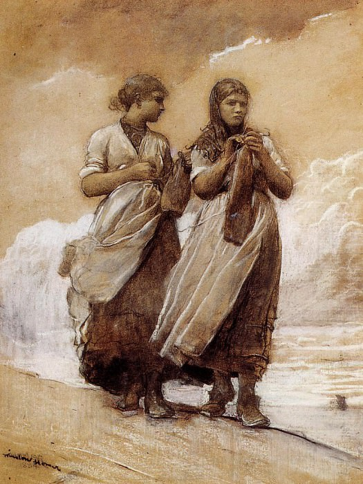 Fishergirls on Shore Tynemouth. Winslow Homer