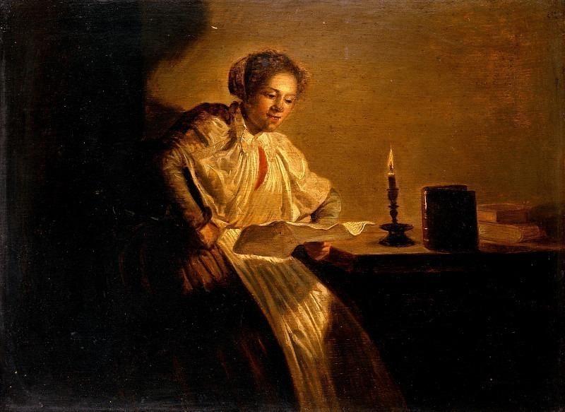 Женщина, читающая при свечах. Дирк Халс