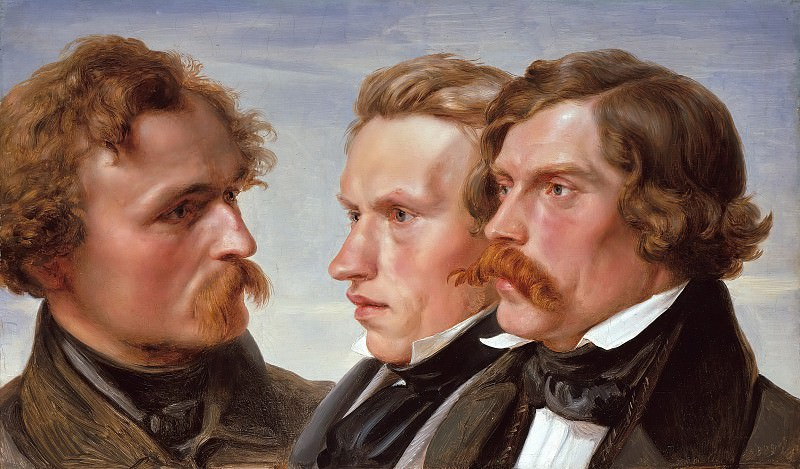 The Painters Karl Friedrich Lessing, Carl Sohn and Theodor Hildebrandt. Julius Hübner