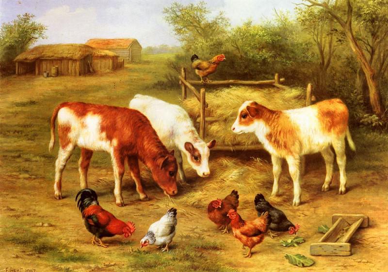 Телята и куры, кормящиеся на дворе фермы. Эдгар Хант