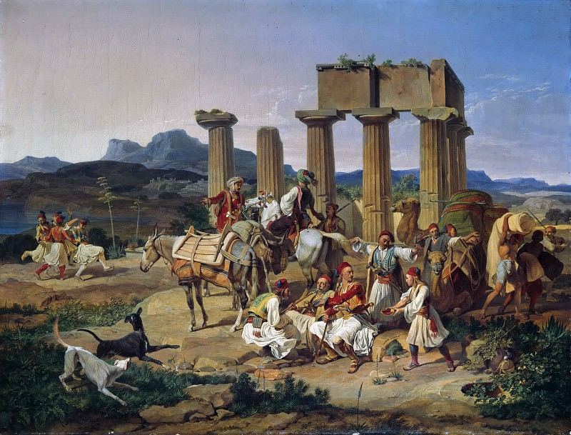 Smugglers before the temple of Corinth. Carl Wilhelm von Heideck