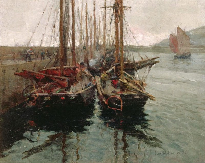 Penzance Fishing Boats in Newlyn Harbour. Harold Harvey