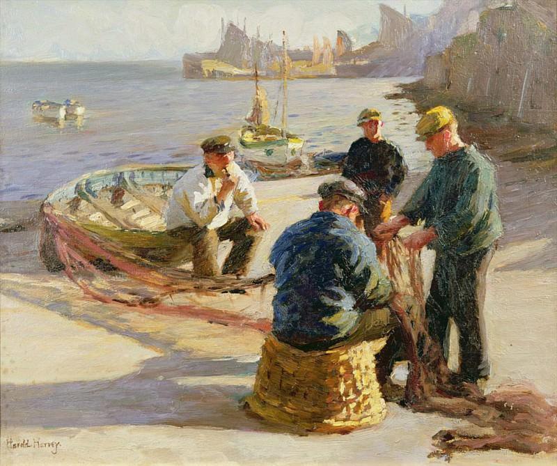 Newlyn Harbour: Mending the Nets. Harold Harvey