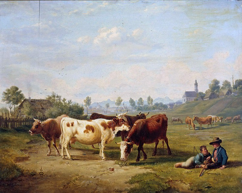 Cows on pasture with shepherd boy. Carl Hess