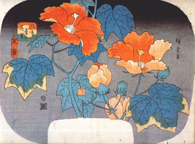 Гибискус, ок.1845. Утагава Хиросигэ