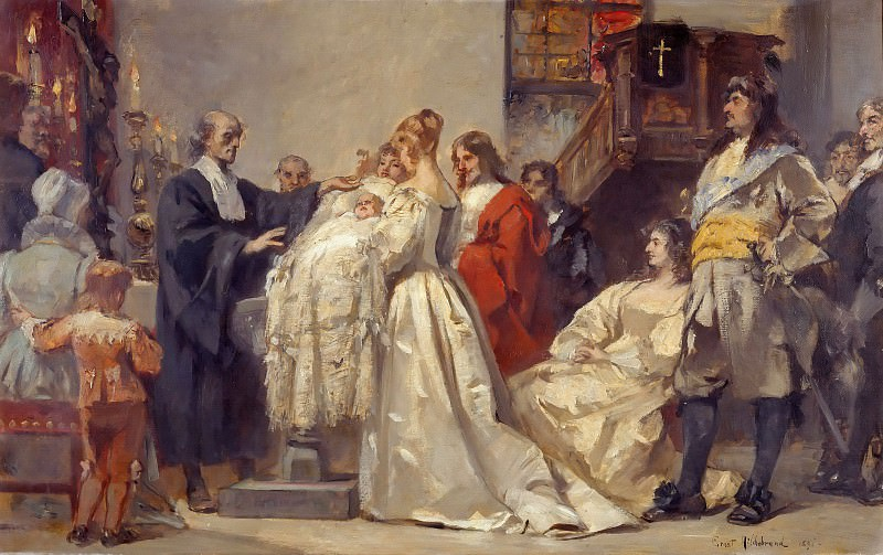 Крещение сына Фридриха Вильгельма Бранденбургского в Спаренбурге. Эрнст Хильдебранд