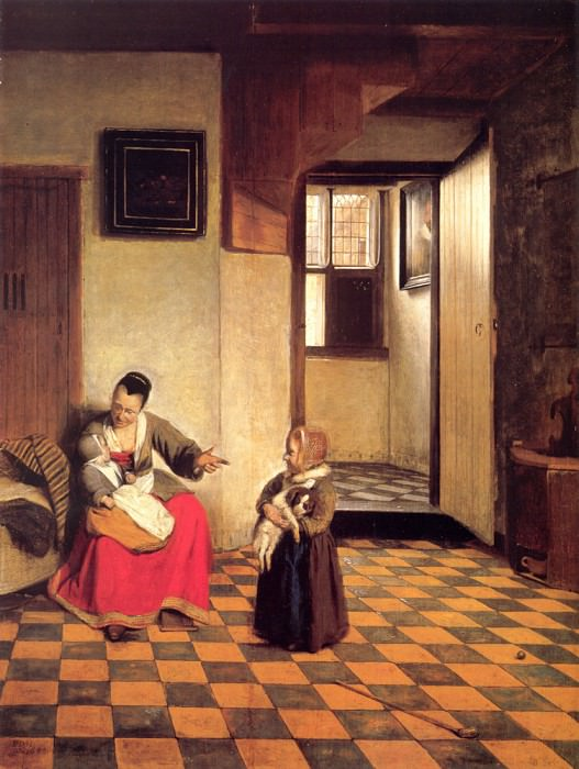 A Woman with a Baby in Her Lap and a Small Child. Pieter de Hooch