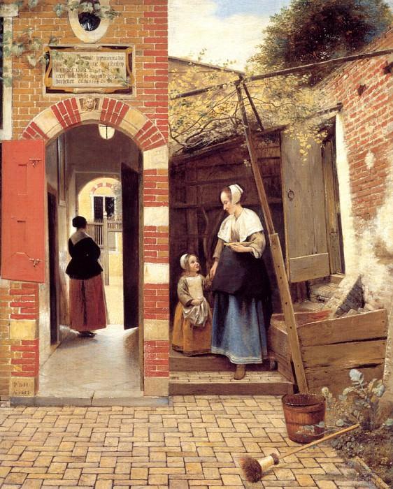 The Courtyard of a House in Delft. Pieter de Hooch