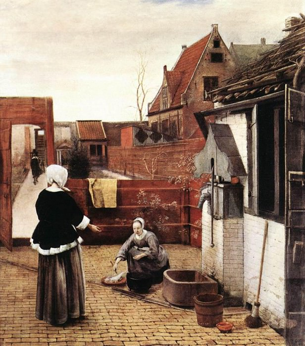 Woman and Maid in a Courtyard. Pieter de Hooch