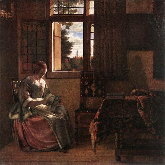 Женщина, читающая письмо. Питер де Хох