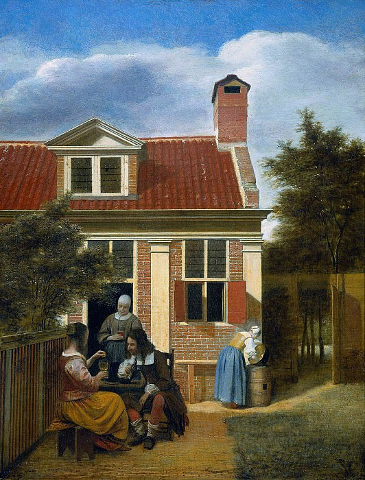 Company in garden. Pieter de Hooch