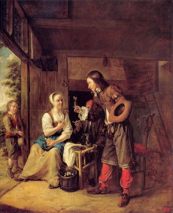 A Man Offering A Glass of Wine to a Woman. Pieter de Hooch