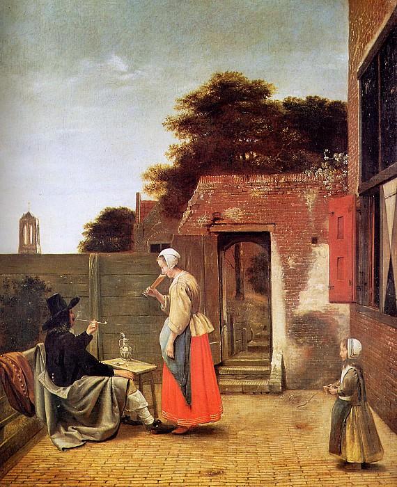 Man smoking in garden. Pieter de Hooch