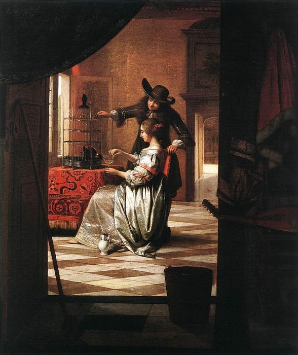 Couple with Parrot. Pieter de Hooch