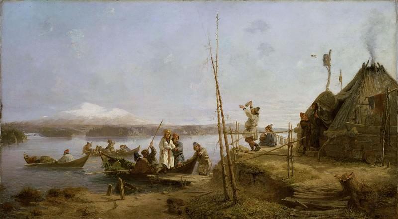 Bridal Homecoming at Lake Hornavan. Johan Fredrik Höckert