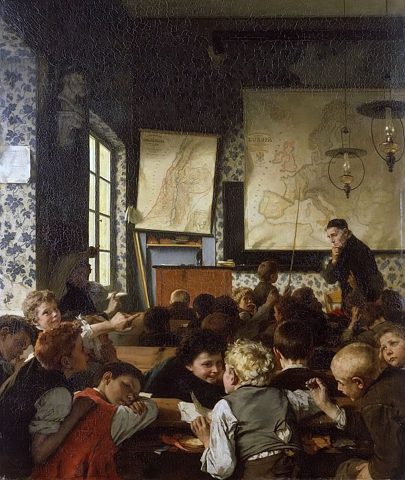 Young Germany in school. Carl Hertel