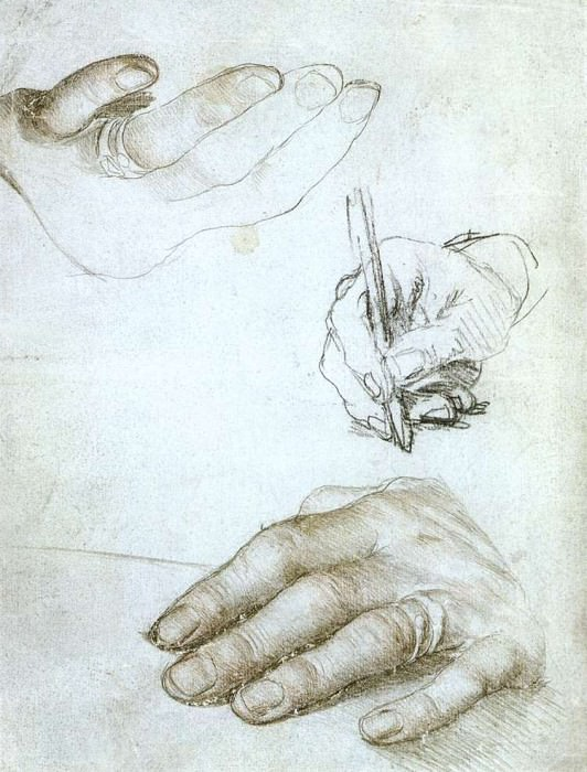 Studies of the Hands of Erasmus of Rotterdam. Hans The Younger Holbein