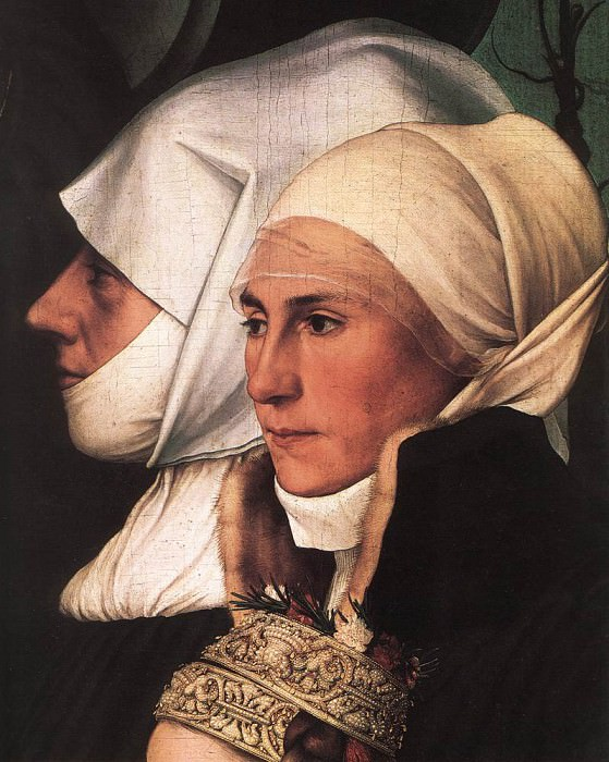 Darmstadt Madonna detail. Hans The Younger Holbein