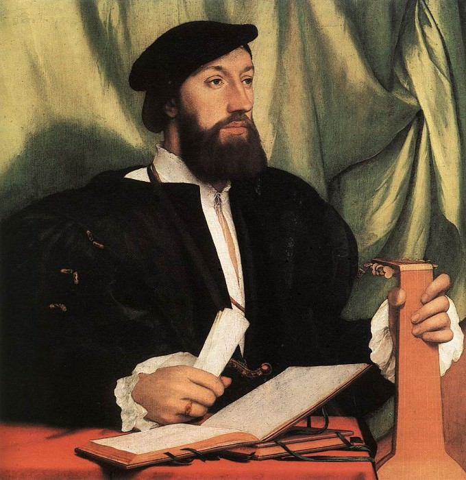 Unknown Gentleman with Music Books and Lute. Hans The Younger Holbein