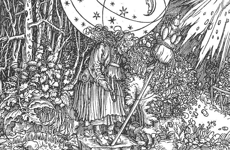 Holbein The Spinner, woodcut, Kupferstichkabinett, Staatlich. Hans The Younger Holbein