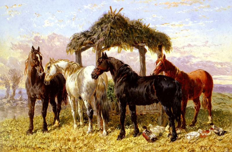 Horses And Ducks By A River. John Frederick Herring
