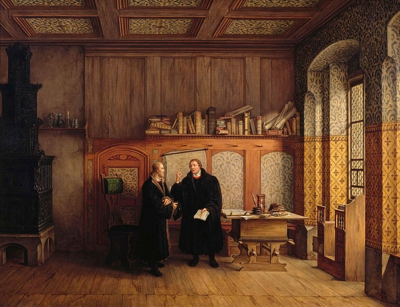 Luther room in Wittenberg. Luther and Melanchthon in conversation. Karl Friedrich Hampe