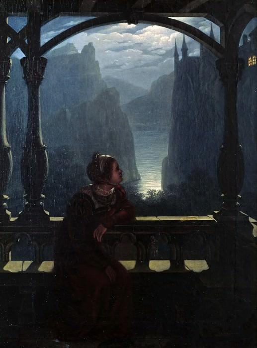 Knights castle in the moonlight. Karl Friedrich Hampe
