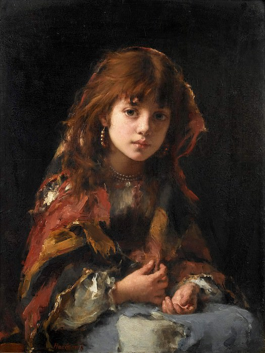 Girl with colorful shawl. Alexei Alexeivich Harlamoff