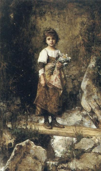 Крестьянская девочка на пешеходном мостике. Алексей Алексеевич Харламов